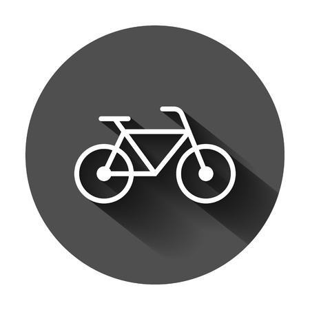 Bicycle sign icon in flat style. Bike vector illustration on black round background with long shadow. Cycling business concept.