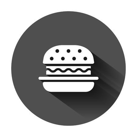 Burger sign icon in flat style. Hamburger vector illustration on black round background with long shadow. Cheeseburger business concept.