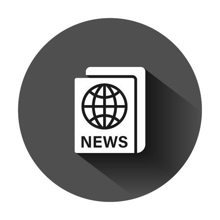Newspaper icon in flat style. News vector illustration on black round background with long shadow. Newsletter business concept.