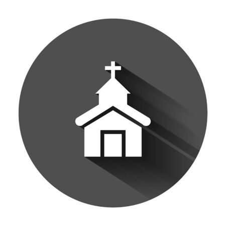 Church icon in flat style. Chapel vector illustration on black round background with long shadow. Religious building business concept.  イラスト・ベクター素材