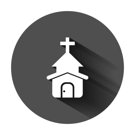 Church icon in flat style. Chapel vector illustration on black round background with long shadow. Religious building business concept. Çizim