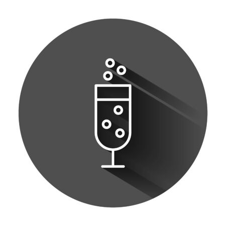 Сhampagne glass icon in flat style. Alcohol drink vector illustration on black round background with long shadow. Cocktail business concept.
