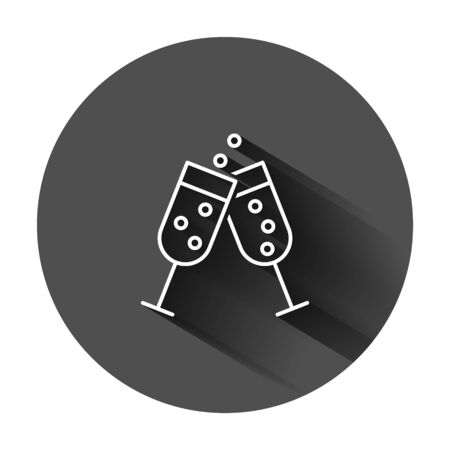 Ð¡hampagne glass icon in flat style. Alcohol drink vector illustration on black round background with long shadow. Cocktail business concept. Çizim