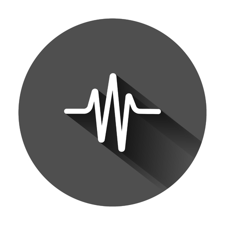 Sound wave icon in flat style. Heart beat vector illustration on black round background with long shadow. Pulse rhythm business concept.