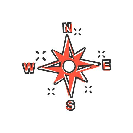 Global navigation icon in comic style. Compass gps vector cartoon illustration on white isolated background. Location discovery business concept splash effect.  イラスト・ベクター素材