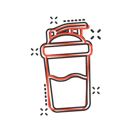 Shaker icon in comic style. Sport bottle vector cartoon illustration on white isolated background. Fitness container business concept splash effect. Çizim