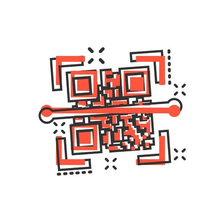 Qr code scan icon in comic style. Scanner id vector cartoon illustration on white isolated background. Barcode business concept splash effect.