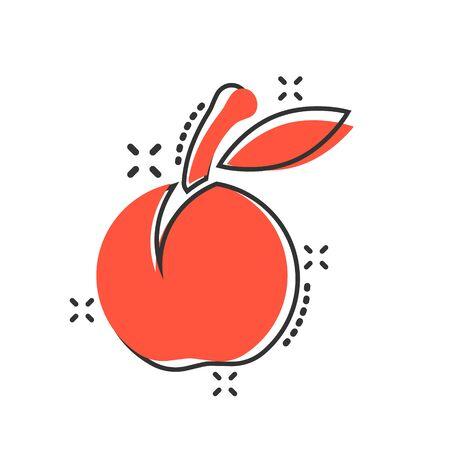Apricot fruit icon in comic style. Peach dessert vector cartoon illustration on white isolated background. Organic dessert business concept splash effect. Foto de archivo - 130571564