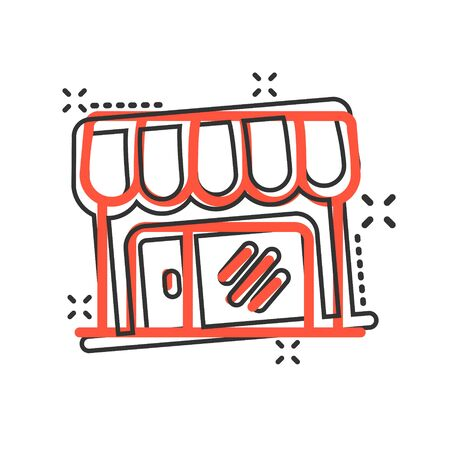 Grocery store icon in comic style. Shop building vector cartoon illustration on white isolated background. Market boutique business concept splash effect.