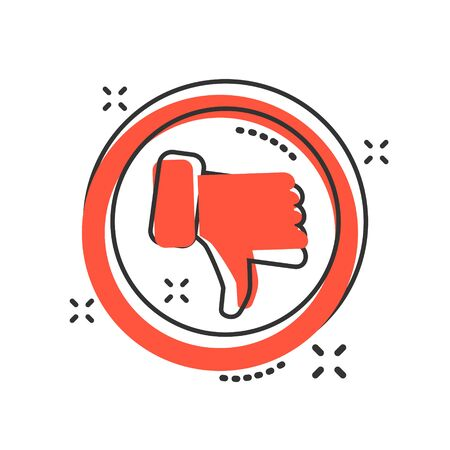 Don'ts sign icon in comic style. Unlike vector cartoon illustration. No, thumb down business concept splash effect. Stock Vector - 125321072