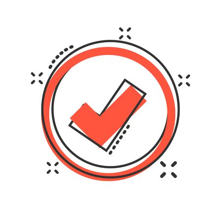 Vector cartoon check marks ok icon in comic style. Accept sign illustration pictogram. Yes business splash effect concept.