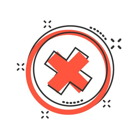 Vector cartoon check marks cross, no icon in comic style. Wrong sign illustration pictogram. No business splash effect concept. Çizim