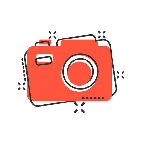 Camera device sign icon in comic style. Photography vector cartoon illustration on white isolated background. Cam equipment business concept splash effect.