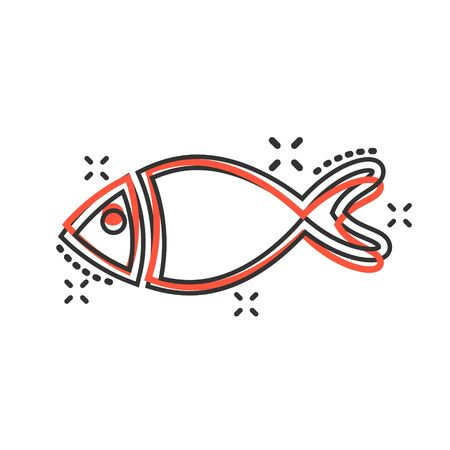 Fish sign icon in comic style. Goldfish vector cartoon illustration on white isolated background. Seafood business concept splash effect.