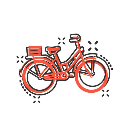 Bicycle sign icon in comic style. Bike vector cartoon illustration on white isolated background. Cycling business concept splash effect.