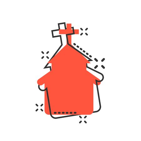 Church icon in comic style. Chapel vector cartoon illustration on white isolated background. Religious building business concept splash effect. Çizim