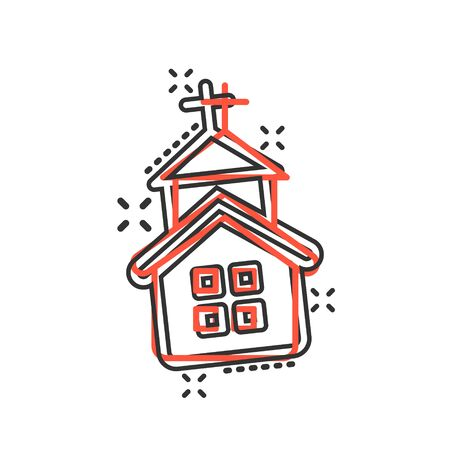 Church icon in comic style. Chapel vector cartoon illustration on white isolated background. Religious building business concept splash effect. Ilustracja