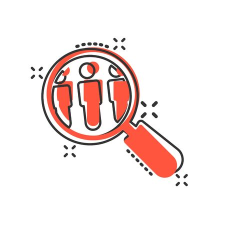 Search job vacancy icon in comic style. Loupe career vector cartoon illustration on white isolated background. Find people employer splash effect business concept. Vector Illustratie
