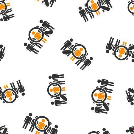 Buscar trabajo vacante icono de patrones sin fisuras de fondo. Ilustración de vector de carrera de lupa sobre fondo blanco aislado. Encuentra el concepto de negocio del empleador.