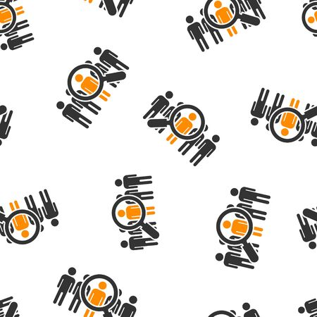 Search job vacancy icon seamless pattern background. Loupe career vector illustration on white isolated background. Find employer business concept.