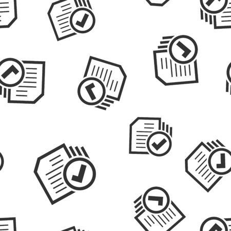 Compliance-Dokument Symbol Musterdesign Hintergrund. Anerkannte Prozessvektorillustration auf weißem lokalisiertem Hintergrund. Häkchen-Geschäftskonzept. Vektorgrafik