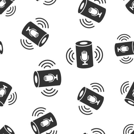 Voice assistant icon seamless pattern background. Smart home assist vector illustration on white isolated background. Command center business concept.
