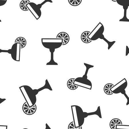 Alcohol cocktail icon seamless pattern background. Drink glass vector illustration on white isolated background. Martini liquid business concept.