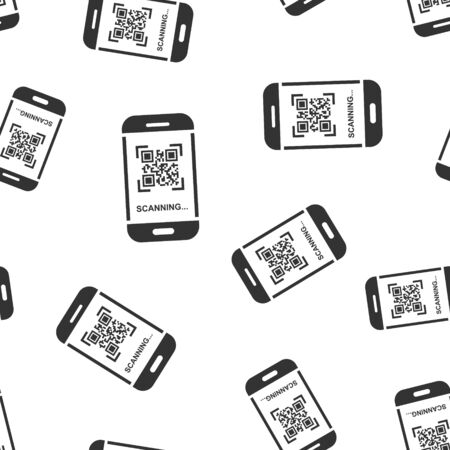 Qr code scan phone icon seamless pattern background. Scanner in smartphone vector illustration on white isolated background. Barcode business concept.