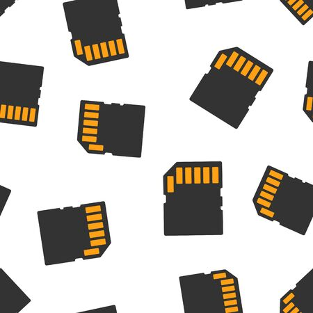 Micro SD card icon seamless pattern background. Memory chip vector illustration on white isolated background. Storage adapter business concept.