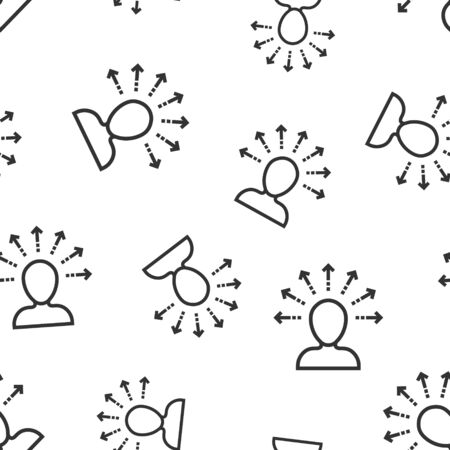 Mind awareness icon seamless pattern background. Idea human vector illustration on white isolated background. Customer brain business concept.
