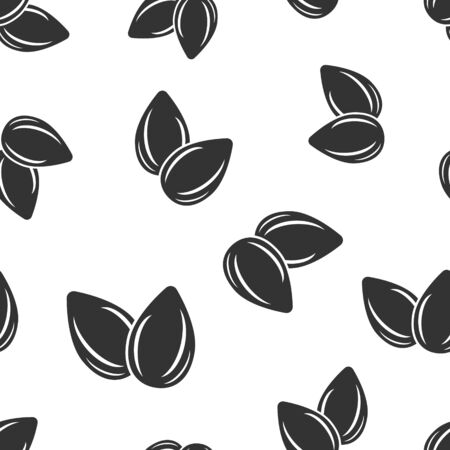 Almond icon seamless pattern background. Bean vector illustration on white isolated background. Nut business concept. 일러스트