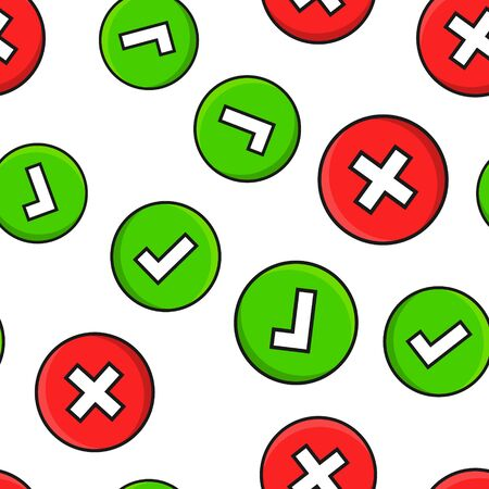 Do's and don'ts sign icon seamless pattern background. Like, unlike vector illustration on white isolated background. Yes, no business concept. Foto de archivo - 126820452