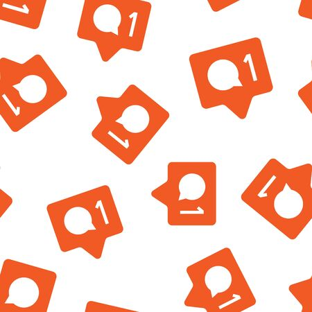 Social media notification sign icon seamless pattern background. Like, comment, follow vector illustration on white isolated background. Click button business concept. Vectores