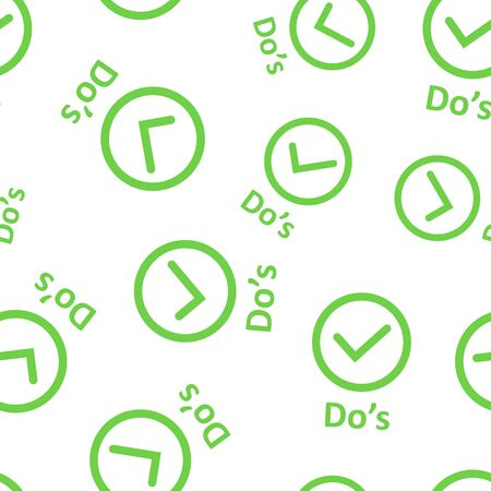 Dos sign icon seamless pattern background. Like vector illustration on black round background with long shadow. Yes business concept.