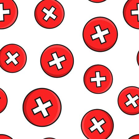 Donts sign icon seamless pattern background. Unlike vector illustration on black round background with long shadow. No business concept.