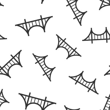 Bridge sign icon seamless pattern background. Drawbridge vector illustration on white isolated background. Road business concept. Illustration