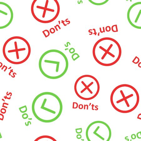 Dos and donts sign icon seamless pattern background. Like, unlike vector illustration on white isolated background. Yes, no business concept.