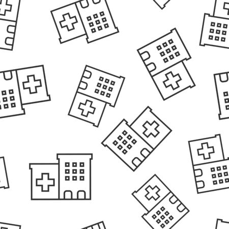 Hospital building icon seamless pattern background. Infirmary vector illustration on white isolated background. Medical ambulance business concept.