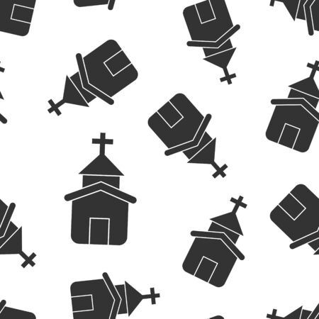 Church icon seamless pattern background. Chapel vector illustration on white isolated background. Religious building business concept.