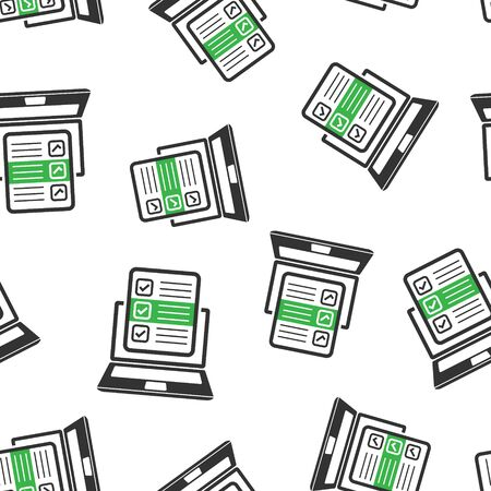 Questionnaire laptop icon seamless pattern background. Online survey vector illustration on white isolated background. Checklist report business concept.  イラスト・ベクター素材