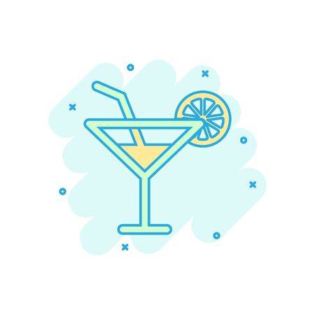 Alcohol cocktail icon in comic style. Drink glass vector cartoon illustration on white isolated background. Martini liquid business concept splash effect.