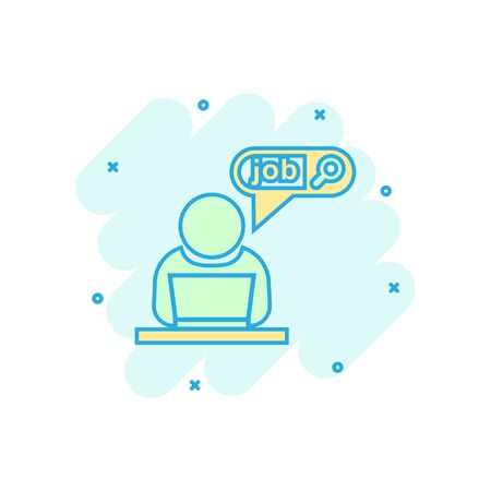 Search job vacancy icon in comic style. Laptop career vector cartoon illustration on white isolated background. Find vacancy business concept splash effect.