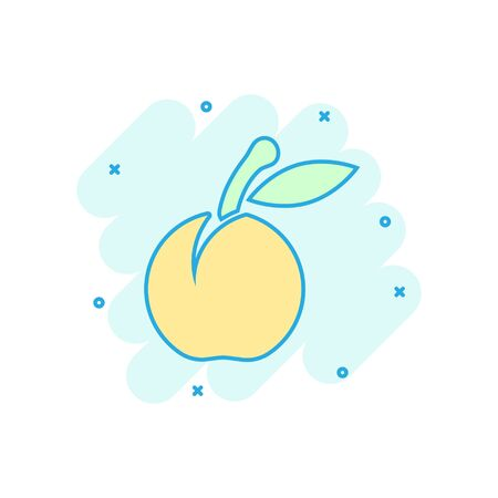 Apricot fruit icon in comic style. Peach dessert vector cartoon illustration on white isolated background. Organic dessert business concept splash effect.