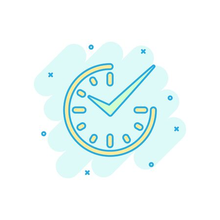 Real time icon in comic style. Clock vector cartoon illustration on white isolated background. Watch business concept splash effect. Иллюстрация