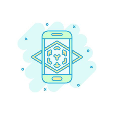 Augmented reality icon in comic style. Vr device vector cartoon illustration on white isolated background. Technology business concept splash effect.
