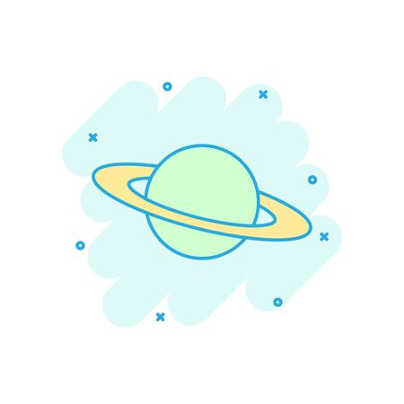 Saturn icon in comic style. Planet vector cartoon illustration on white isolated background. Galaxy space business concept splash effect.