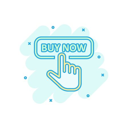 Buy now shop icon in comic style. Finger cursor vector cartoon  illustration on white isolated background. Click button business concept splash effect.