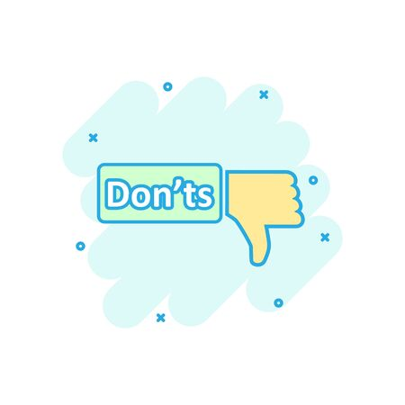 Donts sign icon in comic style. Unlike vector cartoon illustration. No business concept splash effect. Illustration