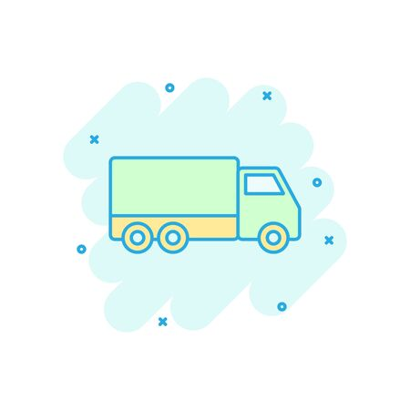 Delivery truck sign icon in comic style. Van vector cartoon illustration on white isolated background. Cargo car business concept splash effect.