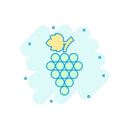 Grape fruits sign icon in comic style. Grapevine vector cartoon illustration on white isolated background. Wine grapes business concept splash effect. Illustration